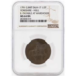 1791 Great Britain 1/2 Penny Yorkshire Hull Coin NGC MS64BN