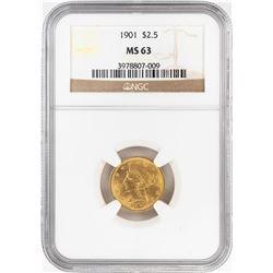 1901 $2 1/2 Liberty Head Quarter Eagle Gold Coin NGC MS63