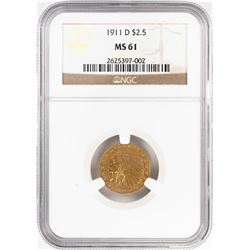 1911-D $2 1/2 Indian Head Quarter Eagle Gold Coin NGC MS61