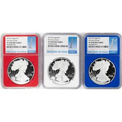 Set of 2019-W $1 Proof American Silver Eagle Coins NGC PF70 Ultra Cameo Red White Blue