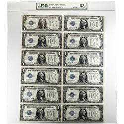 Uncut Sheet of 1928 $1 Silver Certificate Notes Fr.1600 PMG About Uncirculated 53EPQ