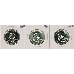 Lot of (3) Proof 1960 Franklin Half Dollar Coins