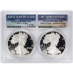 1986-S & 2016-W $1 Proof American Silver Eagle Coin Set PCGS PR70DCAM