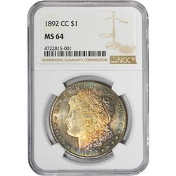 1892-CC $1 Morgan Silver Dollar Coin NGC MS64 Amazing Toning