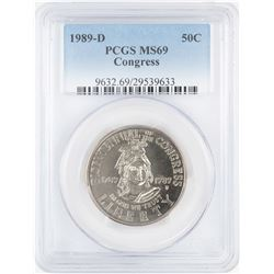 1989-D Congress Commemorative Half Dollar Coin PCGS MS69