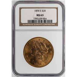 1894-S $20 Liberty Head Double Eagle Gold Coin NGC MS63