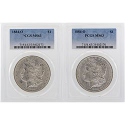 Lot of (2) 1884-O $1 Morgan Silver Dollar Coins PCGS MS63