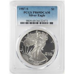 1987-S $1 Proof American Silver Eagle Coin PCGS PR69DCAM