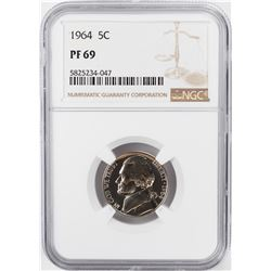 1964 Proof Jefferson Nickel Coin NGC PF69
