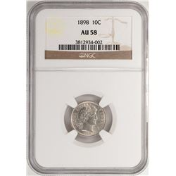 1898 Barber Dime Coin NGC AU58