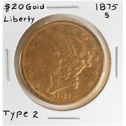 1875-S $20 Liberty Head Double Eagle Gold Coin