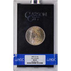 1883-CC $1 Morgan Silver Dollar Coin GSA Hoard NGC MS65 AMAZING Toning