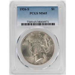1926-S $1 Peace Silver Dollar Coin PCGS MS65