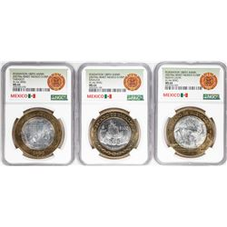 Lot of (3) 2007Mo Mexico 180th Anniversary 100 Pesos Silver Coins NGC MS64