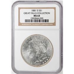 1881-S $1 Morgan Silver Dollar Coin NGC MS64 Great Falls Collection