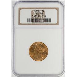 1905 $5 Liberty Head Half Eagle Gold Coin NGC MS62