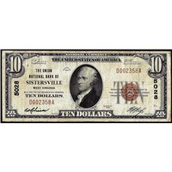 1929 $10 National Bank of Sistersville, West Virginia CH# 5028 National Currency Note