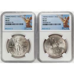 1983-1984Mo Mexico 1 Onza Libertad Silver Coins NGC MS65