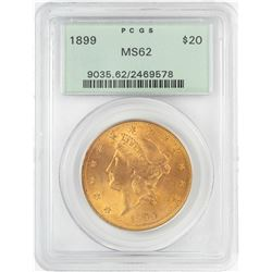 1899 $20 Liberty Head Double Eagle Gold Coin PCGS MS62 OGH