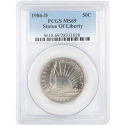 1986-D Statue of Liberty Commemorative Half Dollar Coin PCGS MS69
