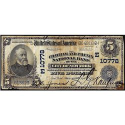 1902 PB $5 Chatham & Phenix NB of City of New York, NY CH# 10778 National Currency Note