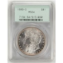 1889-S $1 Morgan Silver Dollar Coin PCGS MS64 OGH