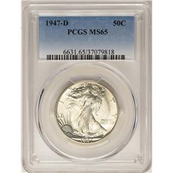 1947-D Walking Liberty Half Dollar Coin PCGS MS65