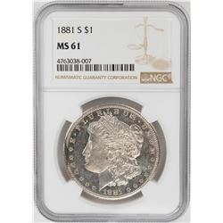 1881-S $1 Morgan Silver Dollar Coin NGC MS61