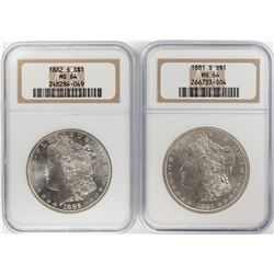Lot of 1881-S & 1882-S $1 Morgan Silver Dollar Coins NGC MS64