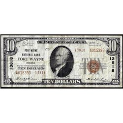 1929 Type II $10 NB Fort Wayne, IN CH# 13818 National Currency Note