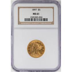 1897 $5 Liberty Head Half Eagle Gold Coin NGC MS61