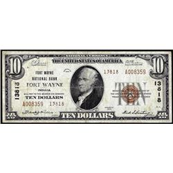 1929 $10 National Bank of Fort Wayne, Indiana CH# 13818 National Currency Note