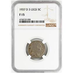 1937-D 3 Legged Buffalo Nickel Coin NGC F15