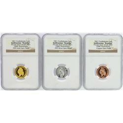 1861 Proof Confederate Cent Smithsonian Restrike Set NGC Graded
