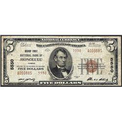 1929 $5 National Currency Note Bishop NB of Honolulu, HI CH# 5550