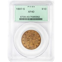 1897-S $10 Liberty Head Eagle Gold Coin PCGS XF40