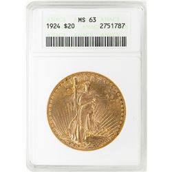 1924 $20 St. Gaudens Double Eagle Gold Coin ANACS MS63