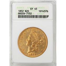 1852 $20 Liberty Head Double Eagle Gold Coin ANACS EF45