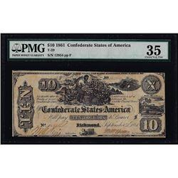 1861 $10 Confederate States of America Note T-29 PMG Choice Very Fine 35