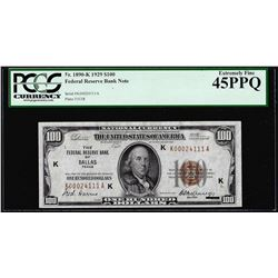 1929 $100 Federal Reserve Bank Note Dallas Fr.1890-K PCGS Extremely Fine 45PPQ