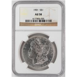 1901 $1 Morgan Silver Dollar Coin NGC AU58