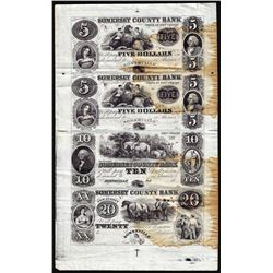 Uncut Sheet of 1800's $5/5/10/20 Somerset County Bank Somerville, NJ Obsolete Notes