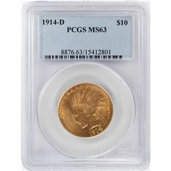 1914-D $10 Indian Head Eagle Gold Coin PCGS MS63