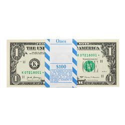 Pack of (100) Consecutive 2017 $1 Federal Reserve STAR Notes Dallas