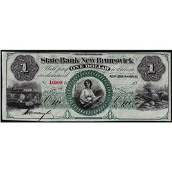 1800's $1 State Bank at New Brunswick, NJ Obsolete Banknote
