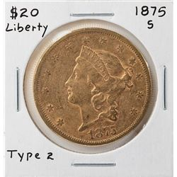 1875-S Liberty Head $20 Double Eagle Gold Coin