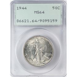 1944 Walking Liberty Half Dollar Coin PCGS MS64 Green Rattler Holder