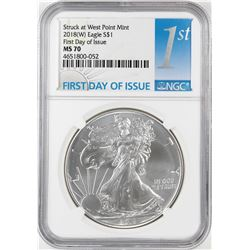 2018-(W) $1 American Silver Eagle Coin NGC MS70 First Day of Issue