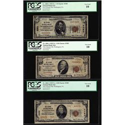 1929 $5/10/20 Citizens NB Washington, PA CH# 3383 National Currency Notes PCGS VG10