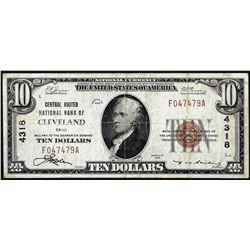 1929 $10 United National Bank of Cleveland, Ohio CH# 4318 National Currency Note